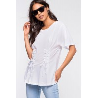 Women Double Lace Up Tee White 102858518 OMBYCIZ