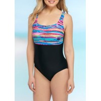ZELOS Women Wave Runner One-Piece Swimsuit Bkmlt UHFSZBE