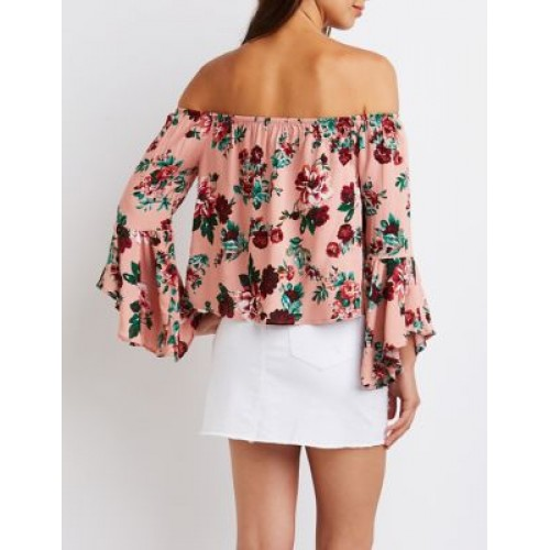 5b4a9336cd029e Charlotte Russe Women Floral Off The Shoulder Top BLACK MULTI 302578359  QXIFDEE
