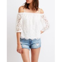 Charlotte Russe Women Lace Cold Shoulder Top WHITE 302563940 RHLGKAY