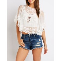 Charlotte Russe Women Lace Crochet Top WHITE 302568768 TBWHLIT
