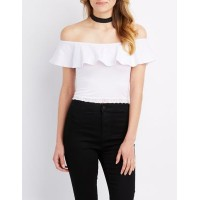 Charlotte Russe Women Lace Off The Shoulder Crop Top WHITE 302591348 TKTPDTK