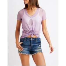 Charlotte Russe Women Mesh Tie Front Tee LILAC 302558357 NRNBBDJ