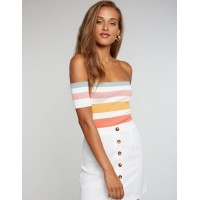 Charlotte Russe Women Ribbed Knit Striped Off-The-Shoulder Top IVORY MULTI 302577572 UULZDWI