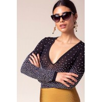 Women Look At Me Studded Bodysuit Black 103909920 IGTRHCT