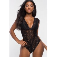 Women Oh La La Cheri Cap Sleeve Lace Bodysuit Black 103705610 QFMWUEW