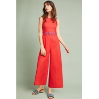 Anthropologie Women Corey Lynn Calter Rivka Jumpsuit RED Linen cotton; polyester lining Embroidered detail 4123024090230 QKNFSPG