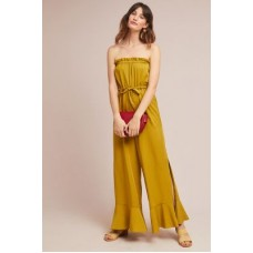 Anthropologie Women Hestia Strapless Jumpsuit CHARTREUSE Lyocell Slouchy fit 4123448540656 DXKNJIN