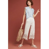 Anthropologie Women Lace Beach Pants WHITE Polyester; viscose lining Scalloped lace hem 4123448393962 PSONFDH