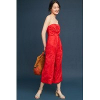 Anthropologie Women Natalie Embroidered Wide-Leg Jumpsuit RED Silk linen; rayon lining Embroidered detail 4123640840001 UJWPUJY
