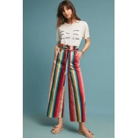 Anthropologie Women Striped Paperbag-Waisted Trousers A/S Cotton elastane Side slant pockets 4123384391700 PLMMVIK