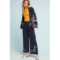 Anthropologie Women Valerie Embroidered-Hem Trousers NAVY Rayon; viscose lining Embroidered pockets and hem 4123317283174 PHAXQRD