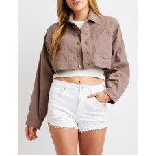 Charlotte Russe Women Cropped Trucker Jacket CAMEL 302579744 CWIPQBH
